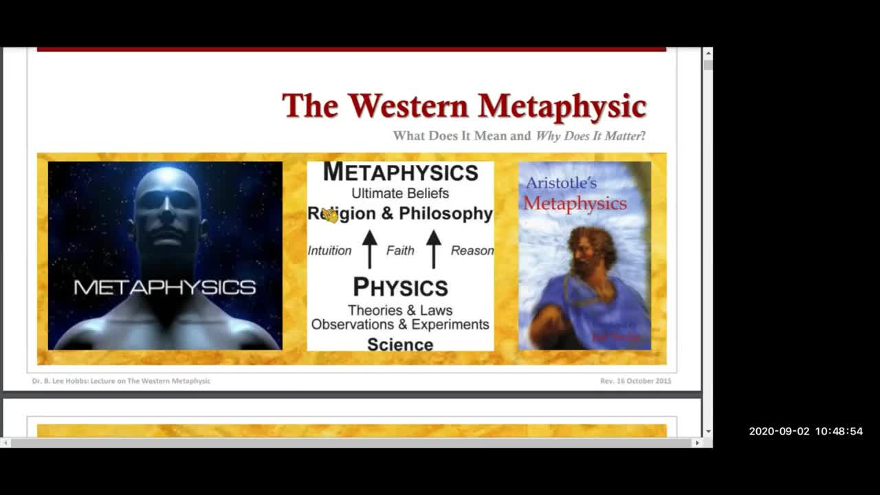 Dr. Hobbs's Lecture on the Western Metaphysic, Part I