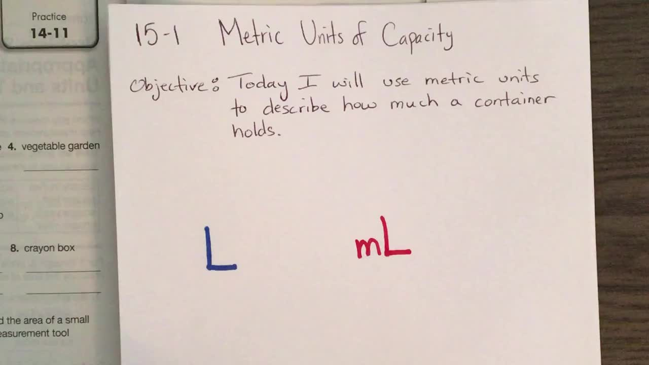 Math Lesson - Metric Units of Capacity