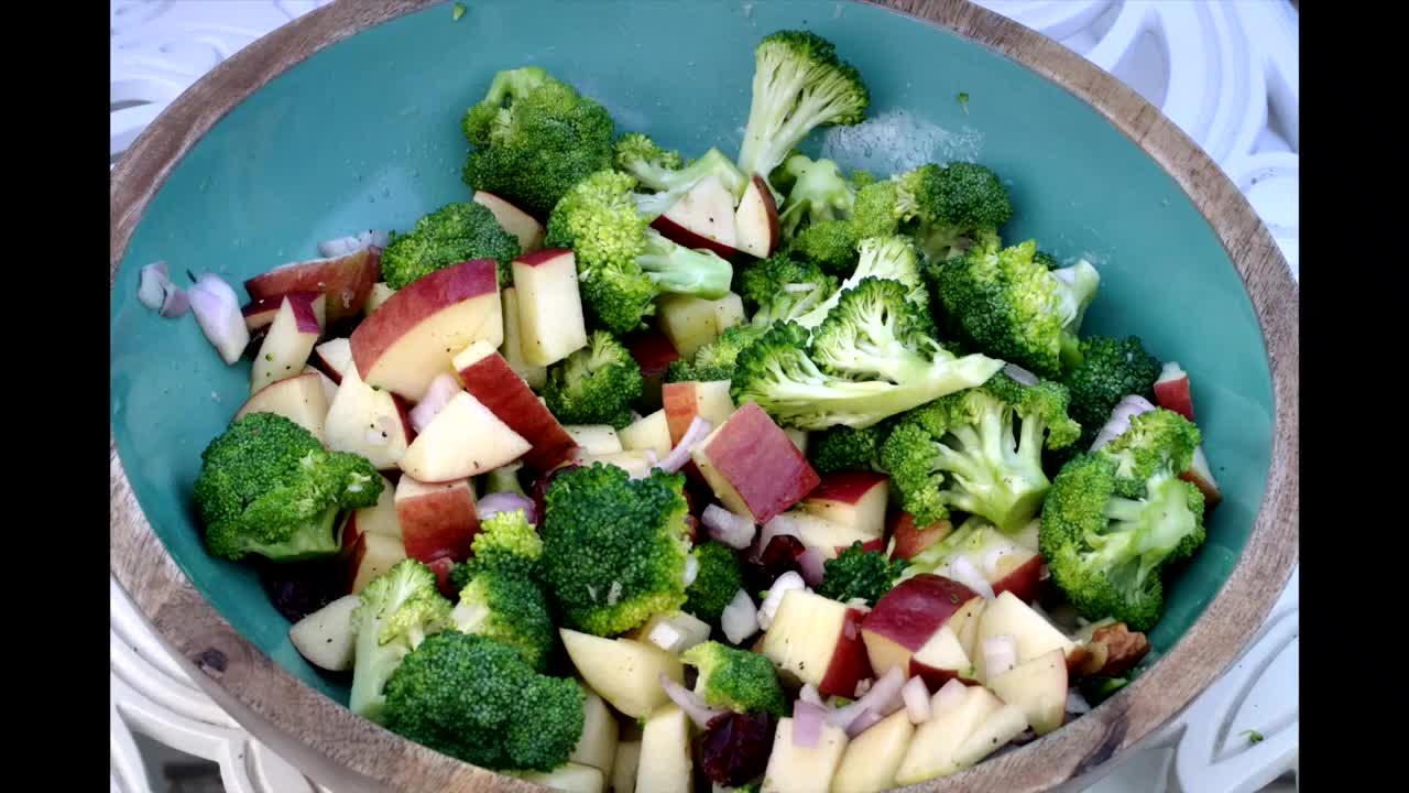 Salads:  Broccoli Salad with Apples and Walnut | Apple Broccoli Salad Recipe | Home Garden Recipes