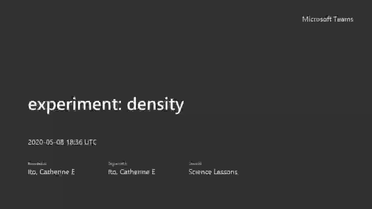 Experiment: Density