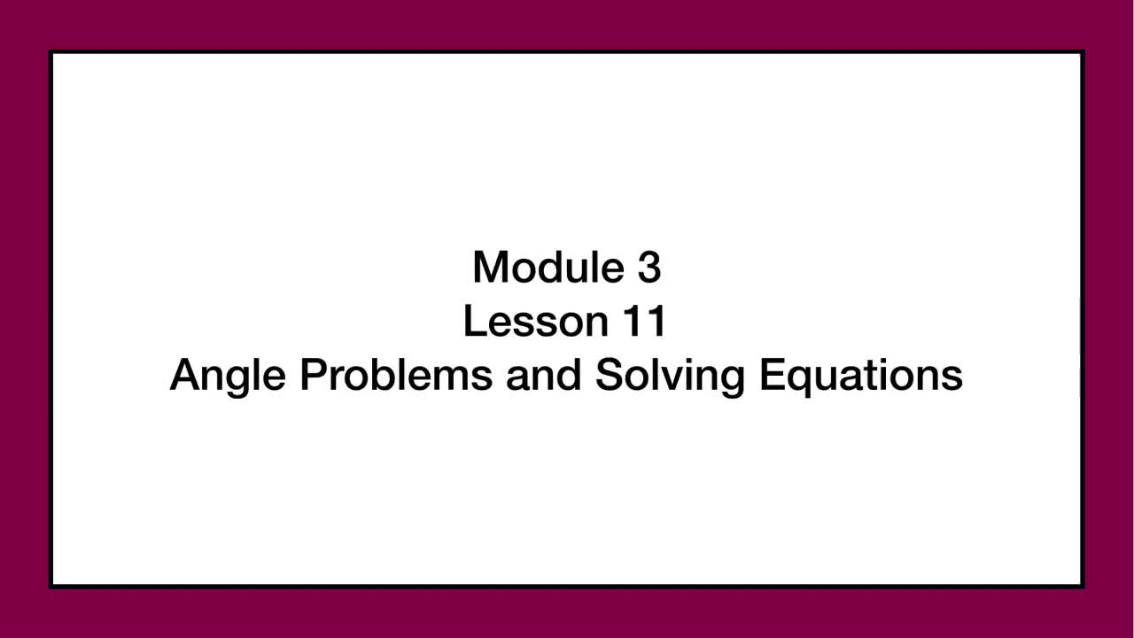 Module 3 Lesson 11