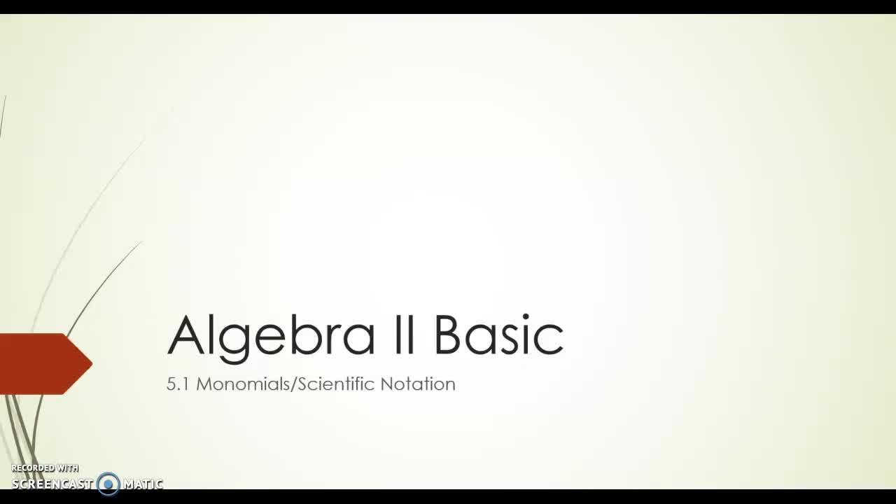 Algebra II Basic 5.1
