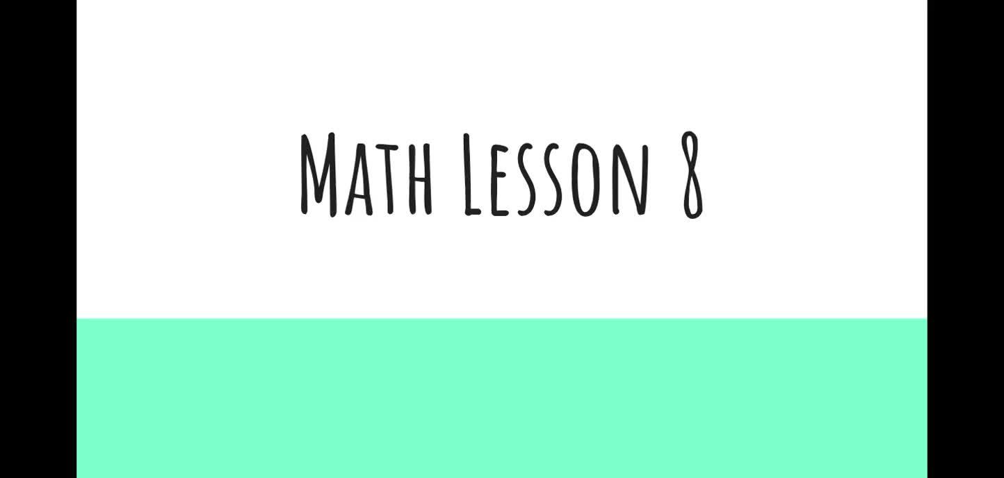 Math Lesson 8