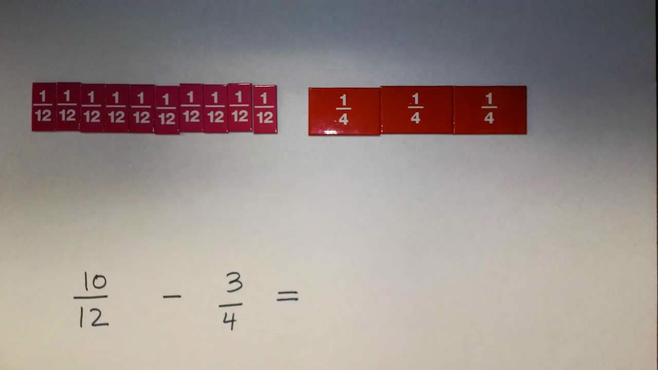 Subtract Fractions Within Whole by Changing One