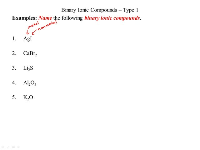 examples - naming binary ionic - type 1
