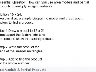 fourth grade - lesson 3 3 multiplying using area models and partial products