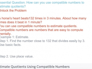 Fourth Grade - Lesson 4.5 Estimating Quotients Using Compatible Numbers