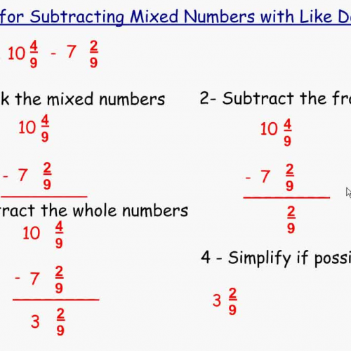 Subtracting Mixed Numbers with Like Denominat