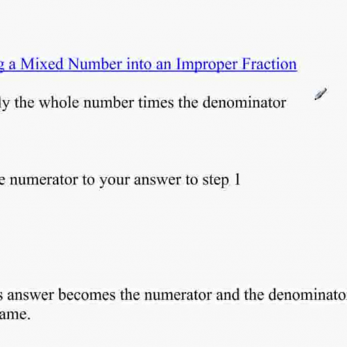Converting Mixed Numbers into Improper Fracti