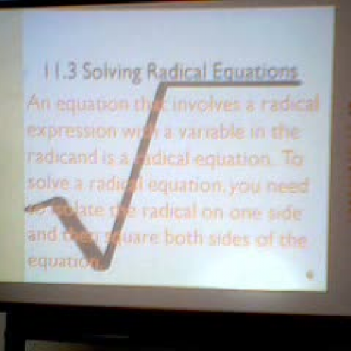Solving Radical Equations Part 1