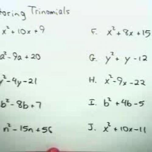 Factoring Trinomials I