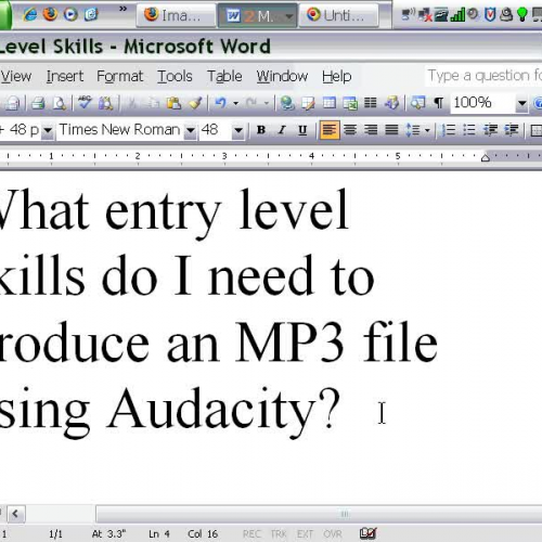 MP3 File Production  2 - What entry level ski