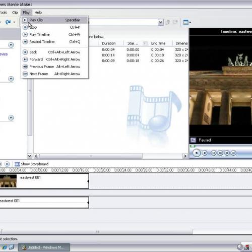 Windows Movie Maker - Hot Keys