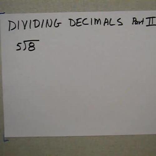 Decimals - Dividing BY A Decimal
