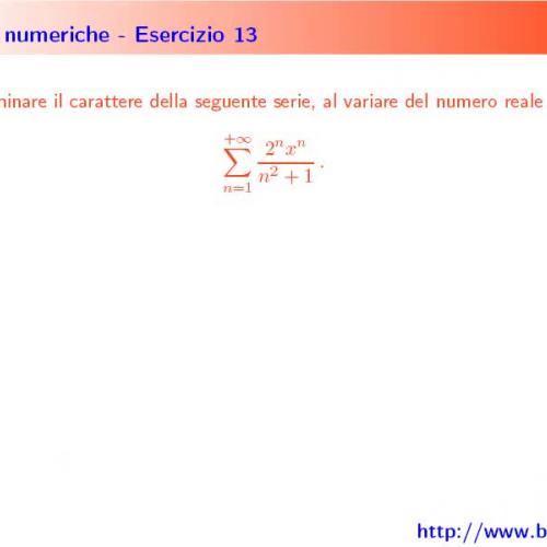 Es.sulle serie numeriche. Esercizi 13-14-15