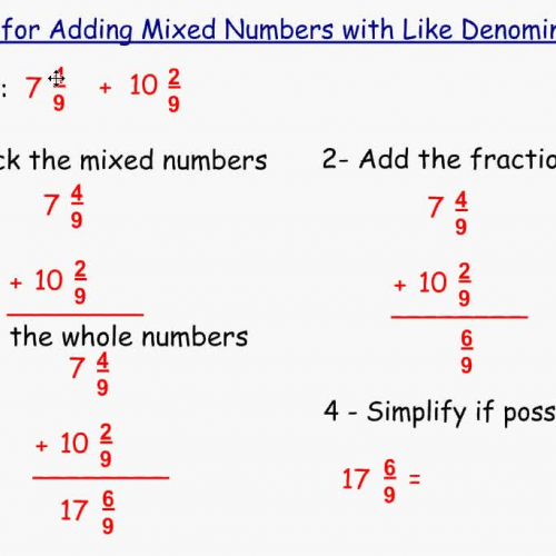 Adding Mixed Numbers with Like Denominators