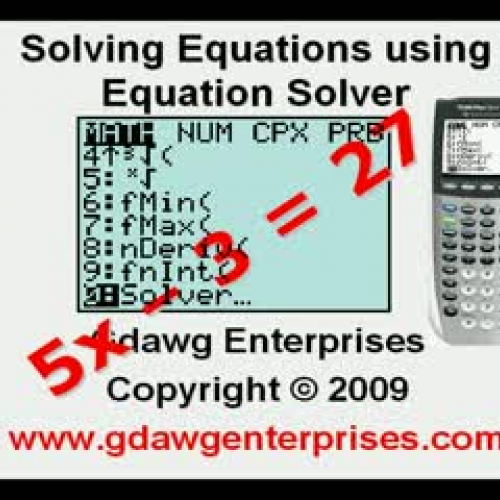 Solving Equations Using Equation Solver