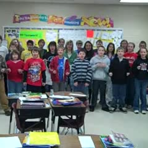 Ms. Harrison's Class singing Atoms Family Son