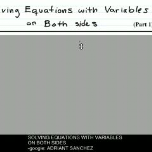 Solving Equations with Variables on Both
