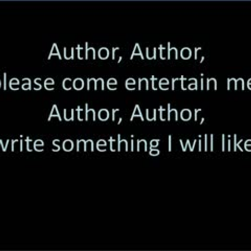 "Author, Please ""Entertain Me"