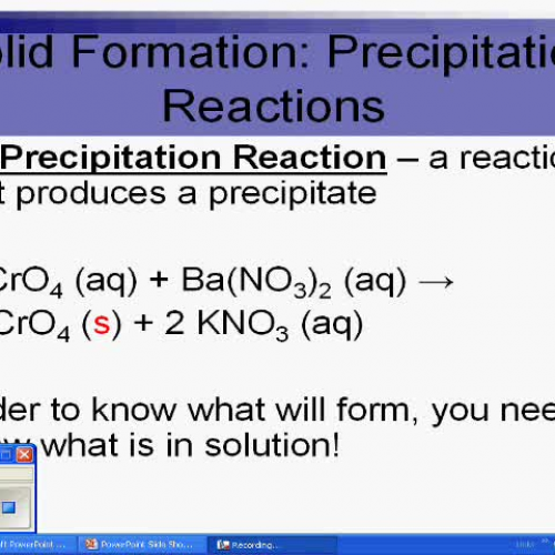 Precipitation and Solubility