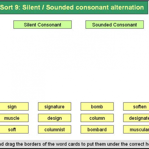 Forest Sort 9 Silent and Sounded Consonant Al