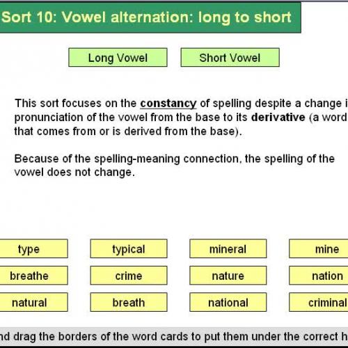 Forest Sort 10 Vowel Alternation - long to sh