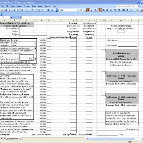 course retrieval spreadsheet
