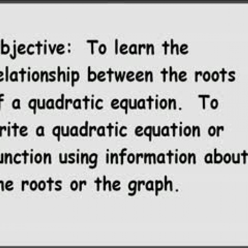 7-7 Writing Quadratic Equations and Functions