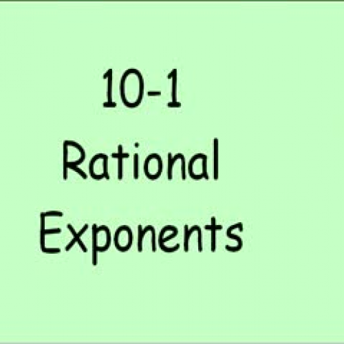 10-1 Rational Exponents