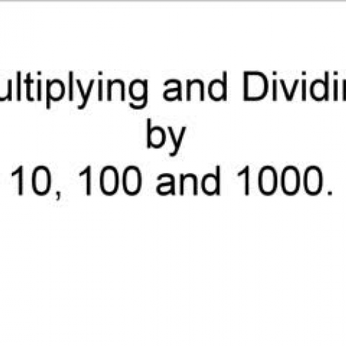 Place Value - Multiplying and Dividing by 10,