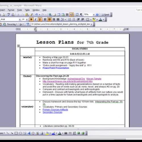 Digital Lesson Planning