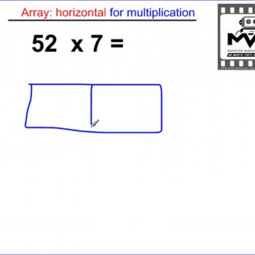 Multiplication Array 2 digits by 1 digit HORI