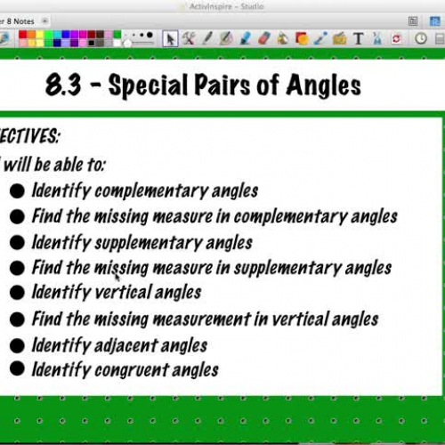 8.3 - Special Pairs of Angles