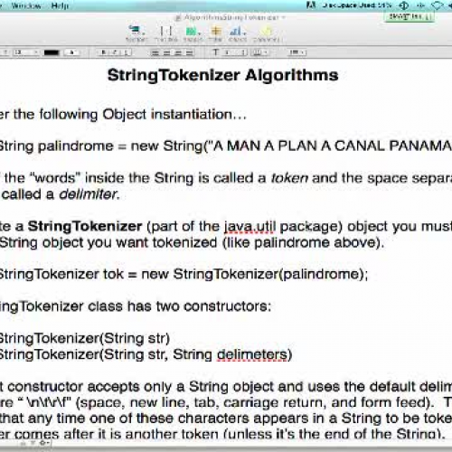 String Tokenizer Lecture