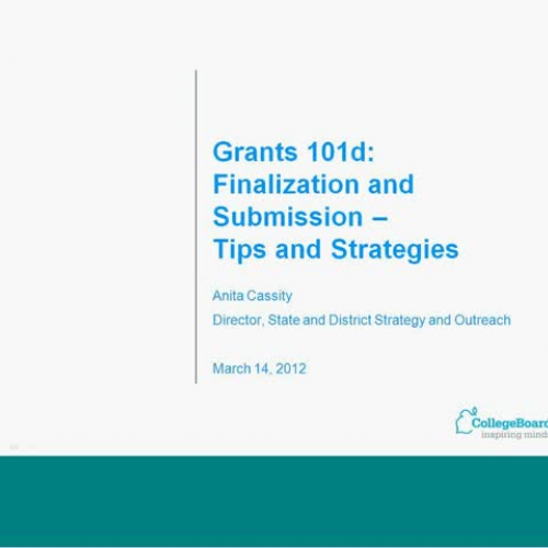 Grants 101d  Finalization and Submission  Tip