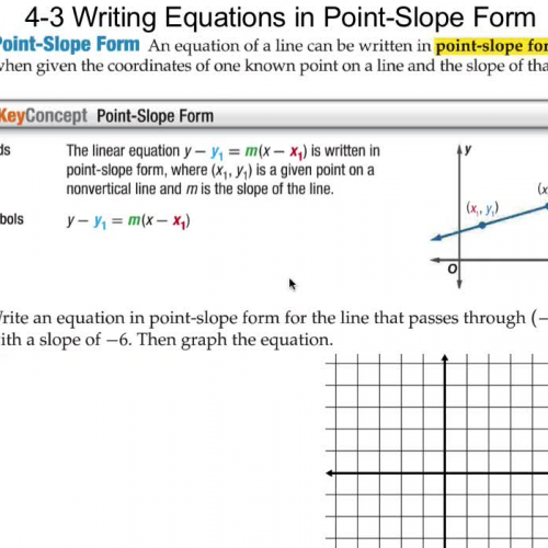 4-3 Writing Equations in Point-Slope Form