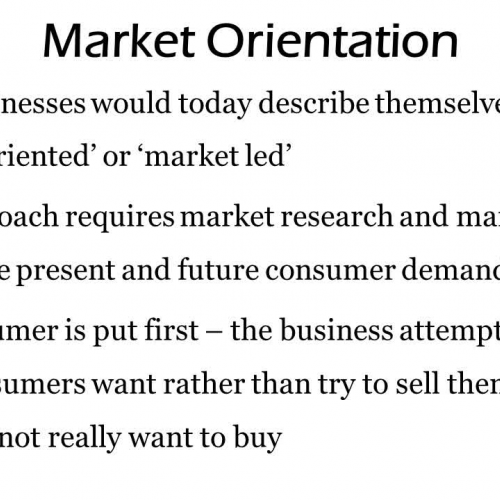 Market Orientation and Product Orientation