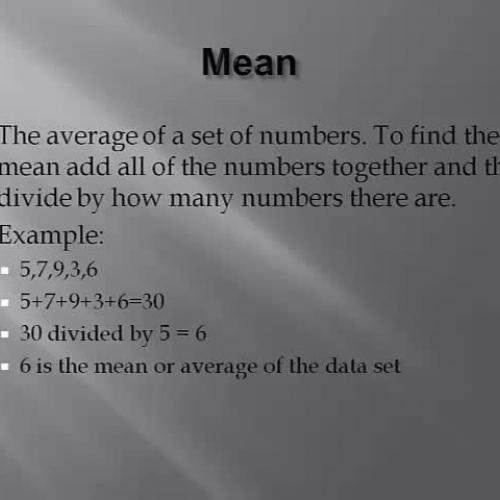 Math 13.3 Mean, Median, Mode