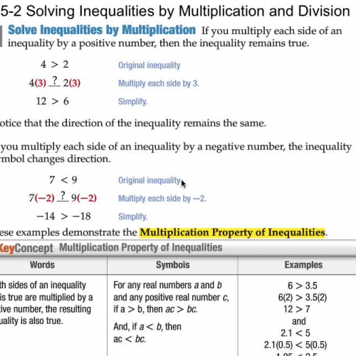 5-2 Solving Inequalities by Multiplication an