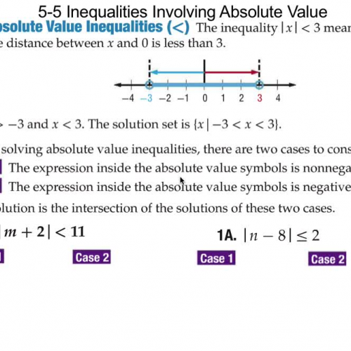 5-5 Solving Inequalities Involving Absolute V