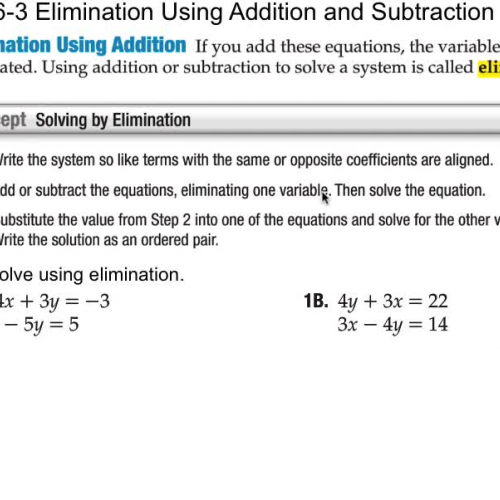 6-3 Elimination Using Addition and Subtractio