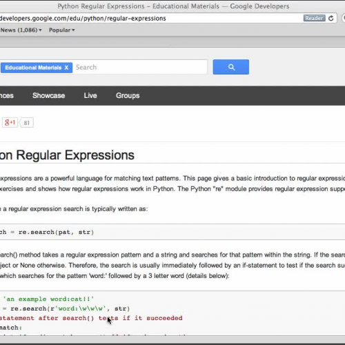 Regular Expressions - Google Developers (Pyth