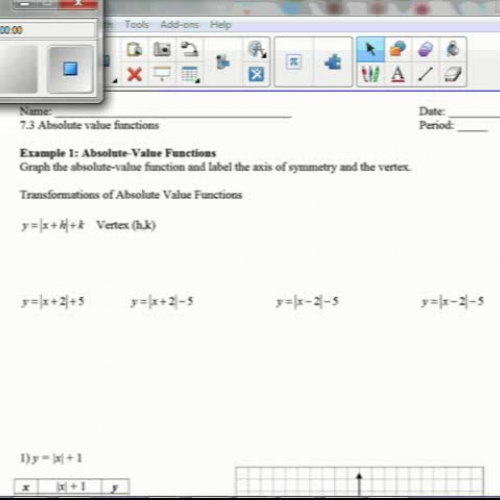 7.3 Graphing Absolute Value Functions
