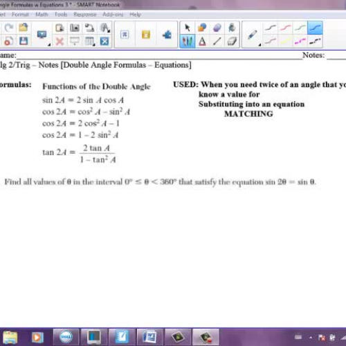 Double Angle Formulas Equations