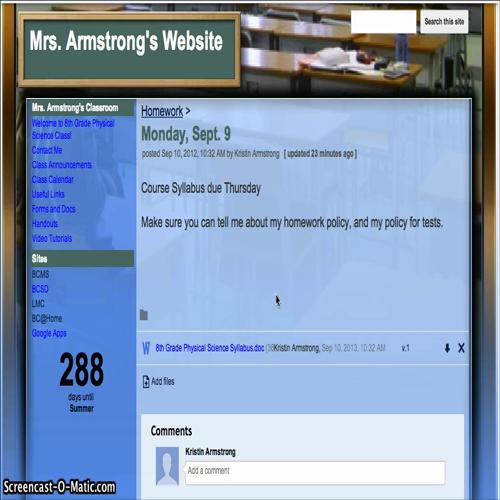 mrs. armstrong's website - homework features