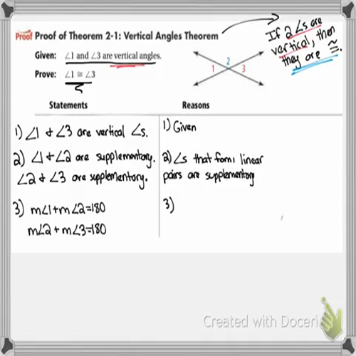 2-6 Proving Angles Congruent
