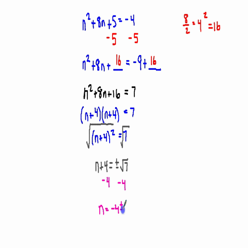 Completing the Square with an Even Middle Term