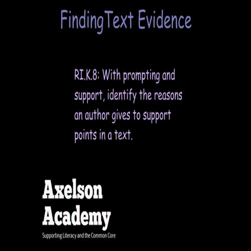 finding text evidence- kindergarten