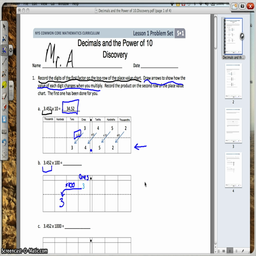 Decimals and Powers of 10: Discovery